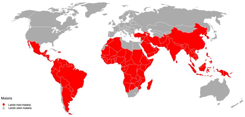 malaria verdenskort